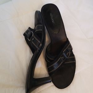 Awrosoles Black Leather Slides